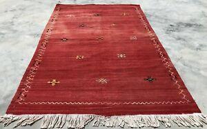 Hand Knotted Vintage Morocco Sumouk Kilim Kilm Wool Area Rug 5 x 3 Ft