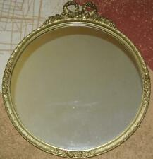 "Vintage Large ORNATE Gold Gilt Rose Framed 26"" Round MIRROR American Beauty LOOK"