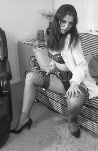 Semi Nude B/W Photo- Sofa- Bra- Stockings- Garter- Panties- Legs Open- Heels