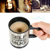 Black Auto Mixing Tea Cup Stainless Plain Lazy Self Stirring Mug Coffee Soup