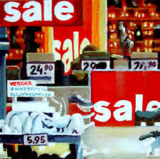 "Sale- 6x6""  window shop realism shoes daily painting a day street G. Boersma"