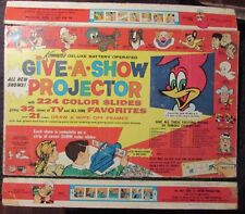 1961 GIVE A SHOW PROJECTOR Box Top & 2 Sides VG- 3.5 Woody Woodpecker Popeye ++