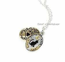 GOLD SILVER CAT KITTEN NECKLACE DOUBLE PENDANTS NECKLACE CHRISTMAS GIFT STUFFING