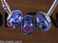 10pcs 15x9mm Lampwork Glass Round Flowers Charms Loose Big Hole Beads Heliotrope