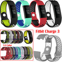Silicone Wristband Bracelet Watch Strap Band for Fitbit Charge 3 Fitness Tracker