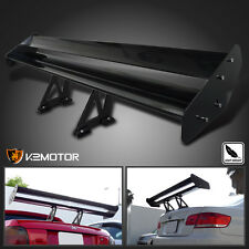 "52"" Black Aluminum Adjustable Double Deck Racing Style Rear Spoiler Wing"