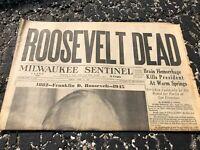 APRIL 13 1945 MILWAUKEE SENTINEL newspaper ROOSEVELT DEAD