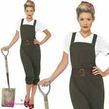 Smiffys Adult Womens Ww2 Land Girl Costume Top Dungarees and Head Scarf 40s