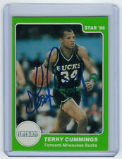 1985-86 BUCKS Terry Cummings signed card Star Co Lifebuoy #3 AUTO Autographed