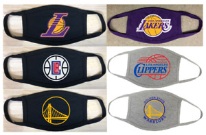 Lakers Clippers Warriors Face Mask Double Cotton Adult & Youth Size Available
