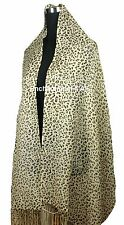 "Stunning 24""x78"" 2-Ply 100% Cashmere Pashmina LEOPARD Scarf Shawl Wrap, Beige"
