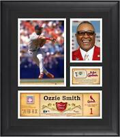 Ozzie Smith StL Cardinals Framed 15x17 HOF Collage & Piece of G-U Ball