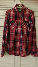 SUPERDRY Men's Refined Lumberjack Twill Red & Blue Check Plaid Shirt Size S
