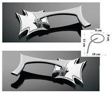 COPPIA specchietti retrovisori custom Harley cromati gothic croce di malta