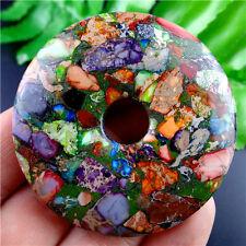 50x8mm Charming Rainbow Sea Sediment Jasper & Pyrite Donut Cab Cabochon HDCQ11