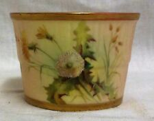1897 Royal Worcester Blush Ivory Hand Painted Flowers Barrel Sugar Bowl