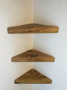 3x RECLAIMED WOOD CORNER SHELVES SMALL WOODEN  INDUSTRIAL RUSTIC WOODEN SHELF