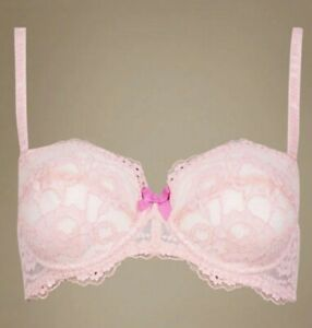 NEW LADIES BALCONY BRA M&S LACE PINK SHIMMER UNDERWIRED LIGHT PAD 30 32 A D DD