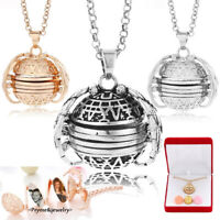 Expanding Photos Locket Necklace Silver Ball Angel Wings Pendant Memorial Gifts