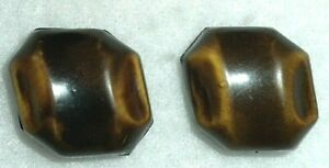 """2 Vintage Brown two tone Buffed BAKELITE Shank Buttons 3/4"""" Lot B 25"""