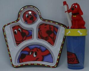 CLIFFORD Big Red Dog Vintage 1990s ZAK Children's Divided Melamine Plate Cup Set