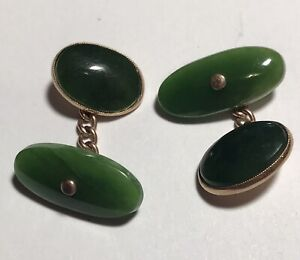 Art Deco 9CT Solid Gold & Green Jade Cufflinks