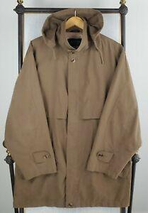 SANYO Size Medium Mens Brown Dark Khaki Top Coat Overcoat Safari Poly/Nylon