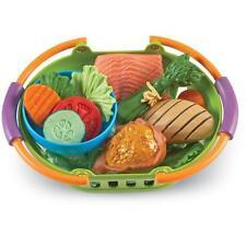 Food Healthy Play Set Kids Toddler Pretend 14 Pc Basket Storage Girl Boy New