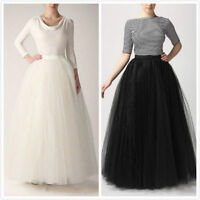 6 Layers Tulle Skirts Summer Style Long Skirts Womens Tutu Maxi Adult Skirt