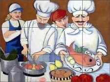 Chef Tile Backsplash Ceramic Mural Harrison Kitchen Salmon Wine Art JHA018