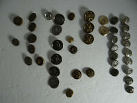 Mixed Lot of 43 Metal Buttons Vintage Crafts Sewing