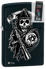 Zippo 28504 sons of anarchy black matte full size Lighter + FLINT PACK