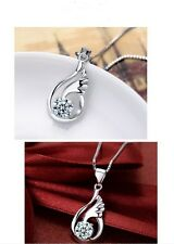 925 Silver Plated White or Purple Crystal Angel Wing Pendant/Healing/Chakra