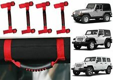4pc Red Roll Bar Grab Handles For 1995-2017 Jeep Wrangler New Free Shipping