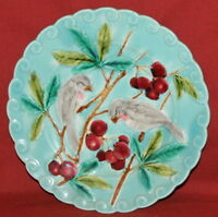 Antique French Sarreguemines Majolica Pottery Floral Birds Sparrow Plate