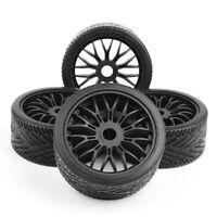 4PCS 17mm Hub Wheel Rim & Tires HSP 1:8 Off-Road RC Car Buggy Tyre Black 1/7 HPI