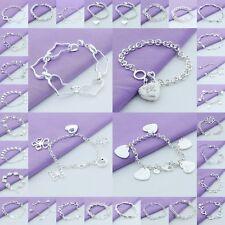 Hot! Wholesale New Fine Womens/Man Silver bracelet/bangle Jewelry Xmas Gifts+925