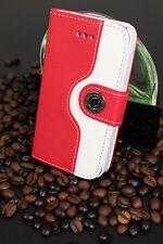 Luxus iPhone 4 4S Tasche Schutz Hülle  Case Cover Etui Rot / Weiss