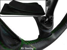 Pour PEUGEOT 406 (95-04) cuir noir véritable Couverture volant vert Stitch