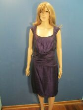Size 14 purple CHIFFON FORMAL dress with BEADED WAIST BELT CLASP by LONDON TIMES