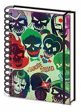 Oficial escuadrón de suicidio A5 DC cráneo Guasón, Harley Quinn Bloc De Notas Cuaderno De Película De Regalo