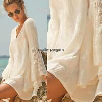Vintage Women V-Neck Boho Flare Sleeve Hippie Boho Gypsy Lace Loose Beach Dress