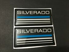 New Custom Epoxy Resin Silverado Emblem Pillar Cab Badge 2pcs Blue