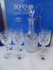 VINTAGE BOXED SET 7PCE LARGE CRYSTAL DECANTER & 6 WINE GLASSES BOHEMIA MINUET