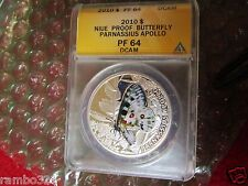 Niue 2010 $ Apollo Parnassius Butterfly proof ANACS ngc pcgs PF 64 Silver Coin