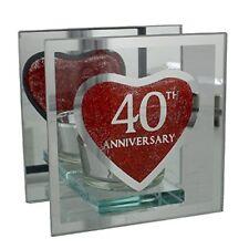 Ruby 40th Wedding Anniversary Tea Light Holder Mirrored Glass