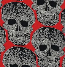 Michael Miller Gothic Black & White Art Skulls on Red Cotton Fabric - FQ