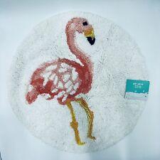 Pillow Fort Flamingo Round Bathroom Bath Rug Cotton Pile 24 in. Diameter New