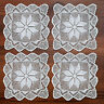 4Pcs/Lot White Vintage Hand Crochet Cotton Lace Doilies Square Table Mats 30cm