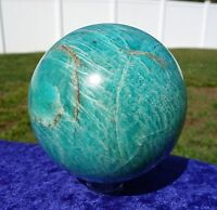Our Biggest AMAZONITE Crystal Sphere Ball Blue Green Madagascar Rich Color